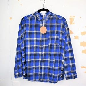 Honey Punch Women's Blue Plaid Flannel Shirt